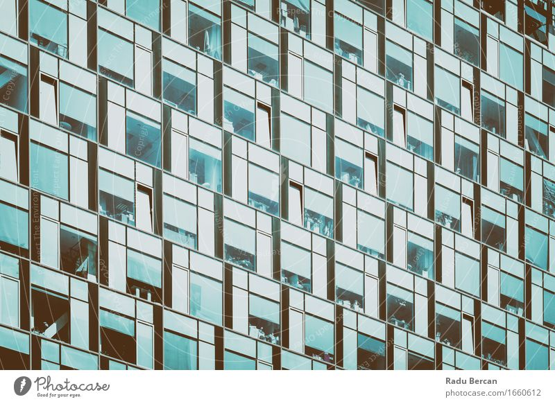 Business Building Windows Abstract Detail Town Downtown High-rise Manmade structures Architecture Facade Glass Blue Black Turquoise White Office building