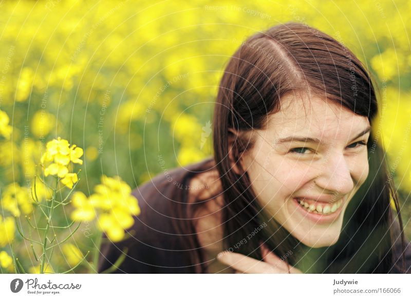 Human being Nature Youth (Young adults) Flower Summer Joy Yellow Portrait photograph Feminine Spring Happy Laughter Contentment Funny Woman Environment