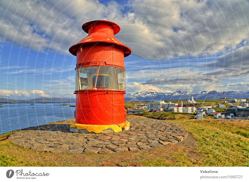 Lighthouse near Stykkisholmur, Iceland Tourism Far-off places Sightseeing Coast Fjord Fishing village Port City Manmade structures Building Blue Brown