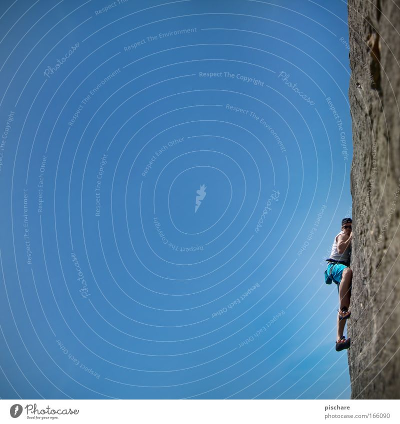 eavesdropping attack Leisure and hobbies Climbing Mountaineering Man Adults 1 Human being Nature Sky Cloudless sky Beautiful weather Rock To hold on Hang Sports