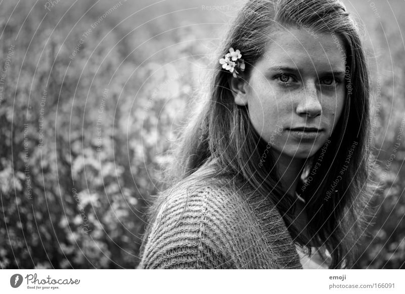 Youth (Young adults) Plant Face Meadow Feminine Head Landscape Field Portrait photograph Environment Authentic Honest Truth Young woman Human being