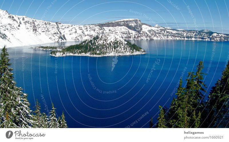 Crater Lake National Park Island Winter Snow Mountain Landscape Volcano Blue Volcanic crater water Oregon Colour photo Day