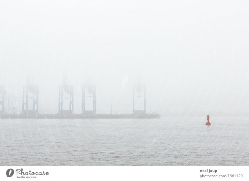 Hamburg, what the fog? Spring Autumn Fog River bank Elbe Port City Industrial plant Harbour Crane Container terminal Navigation Buoy Swimming & Bathing