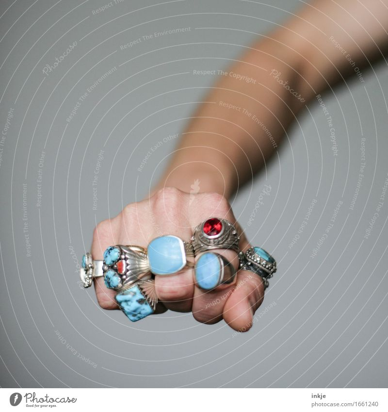 Human being Hand Adults Life Emotions Style Lifestyle Power Arm Many Turquoise Brave Jewellery Ring Luxury Self-confident