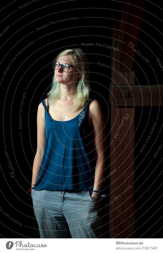 Jule Beam. Human being Feminine 1 18 - 30 years Youth (Young adults) Adults Jeans Eyeglasses Blonde Long-haired Observe Stand Wait Cool (slang) Dark