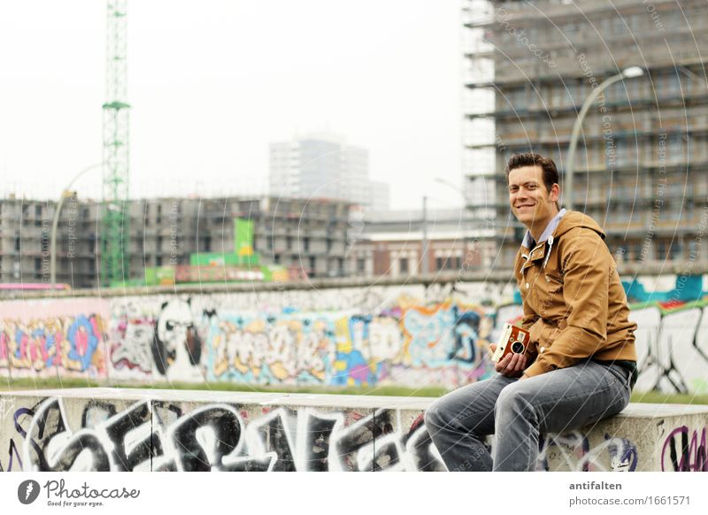 Human being Vacation & Travel Man House (Residential Structure) Joy Face Adults Wall (building) Life Graffiti Natural Berlin Legs Wall (barrier) Facade Tourism