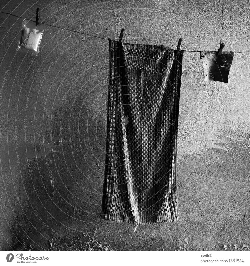 Old Calm Wall (building) Wall (barrier) Facade Gloomy Dry Cloth Hang Patient Clothesline Plastic bag Towel Clothes peg Floor cloth