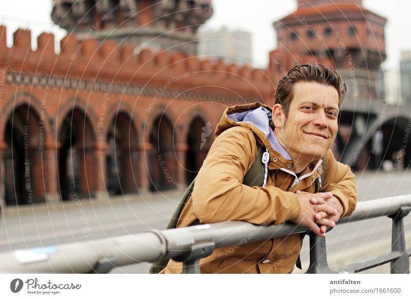 Human being Vacation & Travel Man Hand Adults Life Wall (building) Berlin Laughter Germany Tourism Wall (barrier) Head Contentment Masculine Body