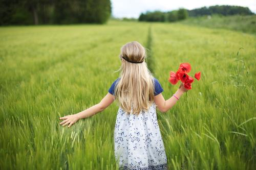 Human being Child Nature Plant Green Summer Flower Relaxation Red Calm Girl Environment Spring Natural Feminine Dream