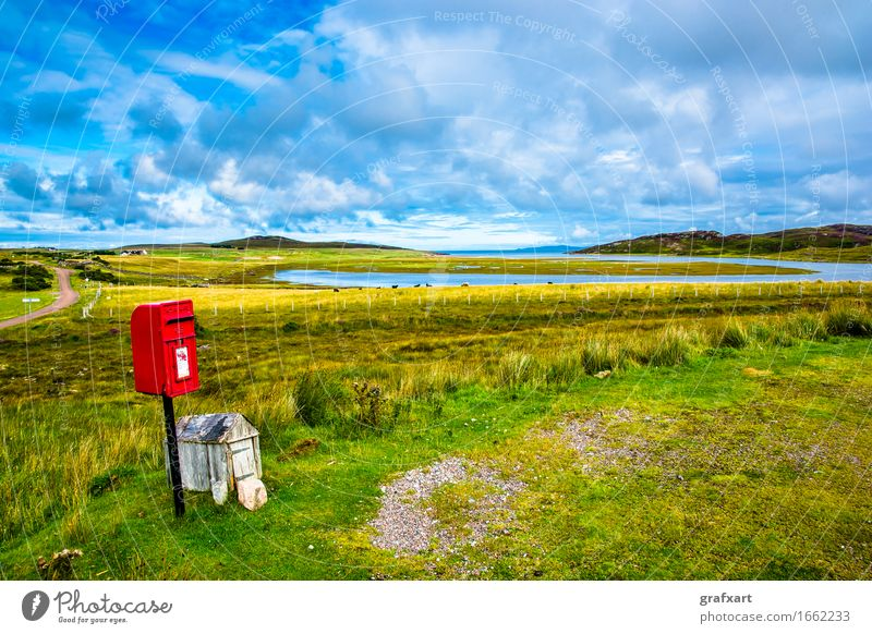 Lonely red mailbox in the landscape of Scotland Mail Mailbox Landscape Loneliness Idyll Calm Highlands Red Travel photography High plain Old Nature Environment