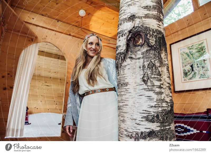 Nature Youth (Young adults) Beautiful Young woman Tree 18 - 30 years Adults Love Natural Lifestyle Style Wood Laughter Fashion Design Illuminate