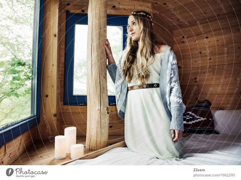 hippie girl Lifestyle Style Living or residing Feminine Young woman Youth (Young adults) 18 - 30 years Adults Nature Tree Hut Tree house Fashion Wood Touch