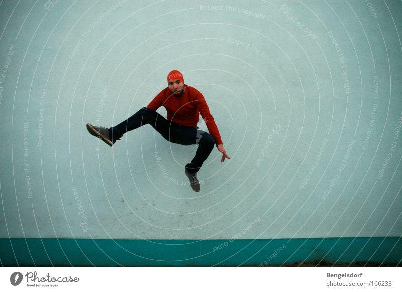 Man Blue Red Jump Dance Ballet Snapshot Dancer Bathing cap