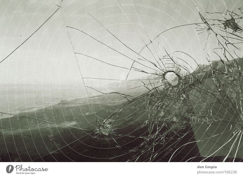 Window Landscape Coast Glass Broken Destruction Aggression Hunting Blind Black & white photo