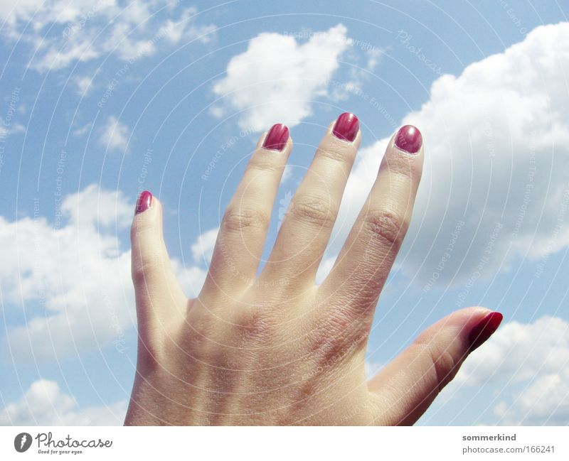 Sky Nature Blue White Summer Sun Red Hand Clouds Feminine Freedom Dream Soft Fingers Beautiful weather Touch