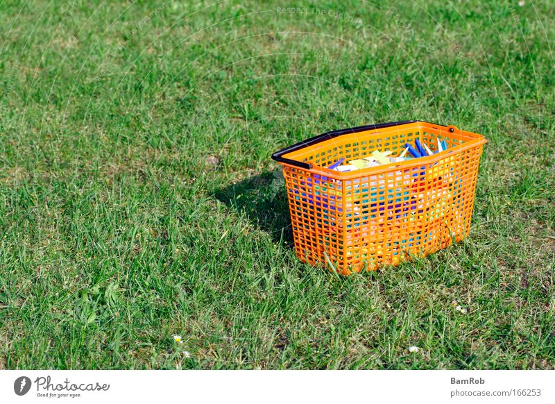 Mother's clothespins Colour photo Exterior shot Deserted Copy Space left Day Garden Grass Plastic Green Contentment Loneliness Peace Idyll Future Clothes peg