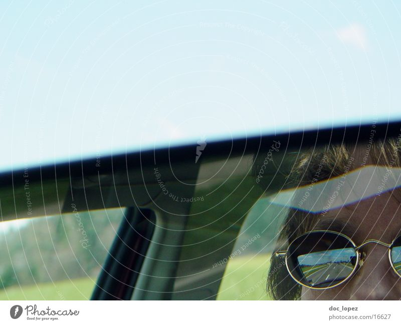 on the way In transit Reflection Mirror Sunglasses Portrait photograph Human being Car Street Detail Partially visible Landscape Sky Blue