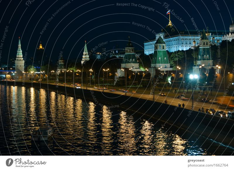 Moscow Kremlin at night. Vacation & Travel Landscape River Town Palace Bridge Building Architecture Transport Bright Historic Vantage point cityscape Russia
