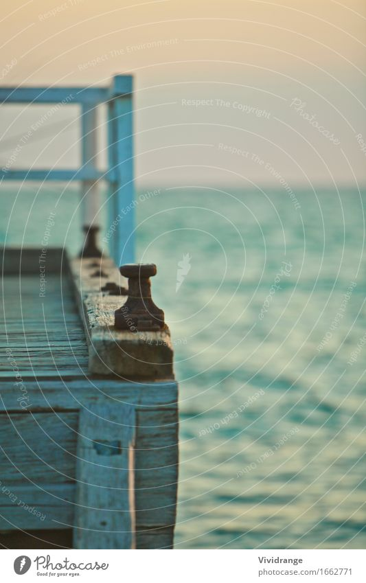 Pier and sea view Lifestyle Relaxation Calm Vacation & Travel Summer Ocean Island Waves Water Coast Beach Yacht harbour Wood Old Maritime Colour Australia bay