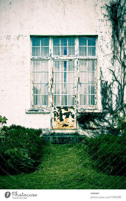 to the garden Colour photo Subdued colour Day House (Residential Structure) Park Building Architecture Facade Garden Window Door Old Dirty Dark Historic Gloomy
