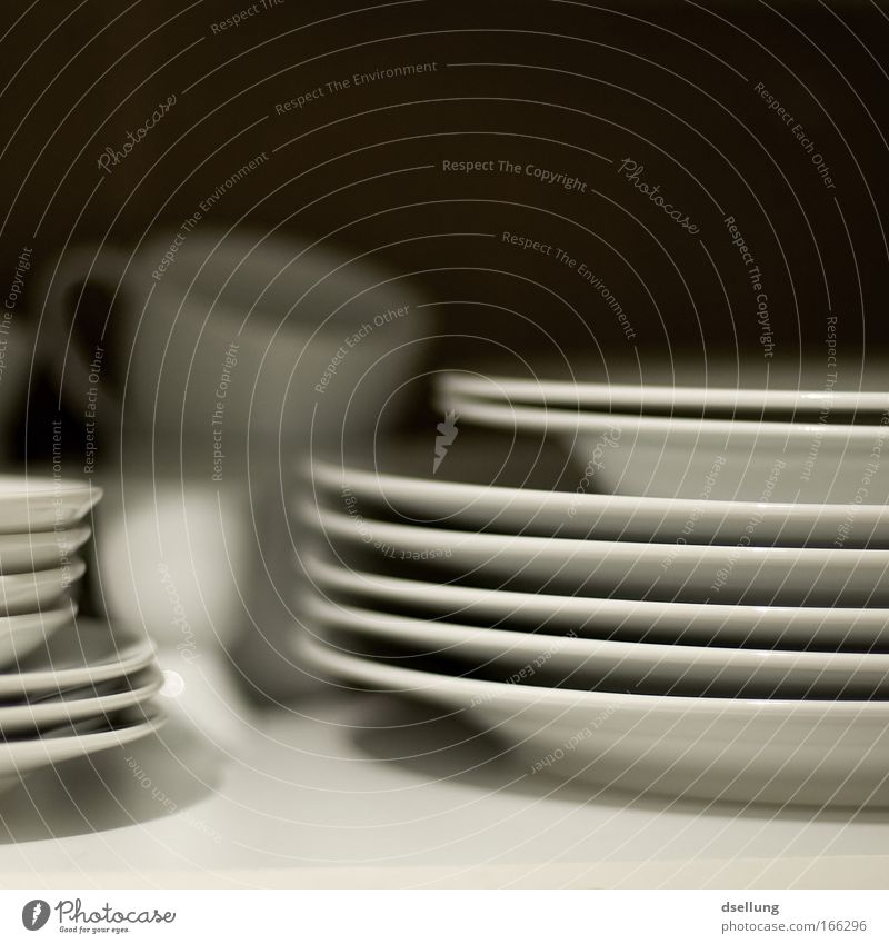 """Consistent perspective"" Colour photo Interior shot Close-up Experimental Deserted Artificial light Shadow Shallow depth of field Central perspective Crockery"