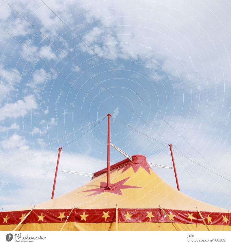 big top Colour photo Exterior shot Deserted Copy Space top Day Artist Circus Shows Sky Large Yellow Red Joy Enthusiasm Tent ceiling