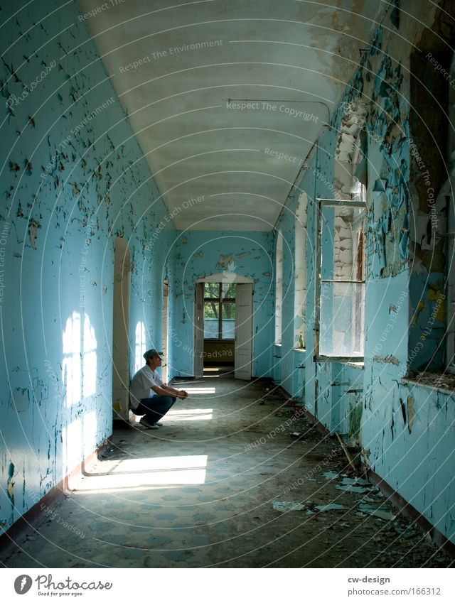 Human being Man Old Blue White House (Residential Structure) Adults Sadness Dream Room Leisure and hobbies Dirty Sit Wait Masculine
