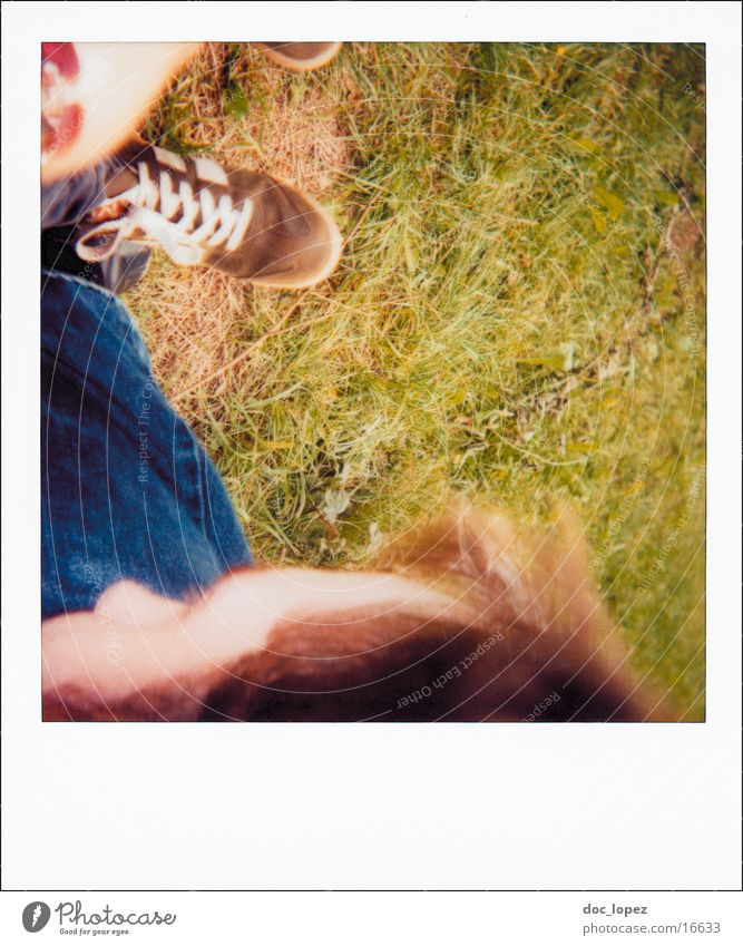 Nature Summer Meadow Grass Friendship Footwear Lifestyle Perspective Analog Deep Polaroid Partially visible Snapshot Photographic technology Comprehend