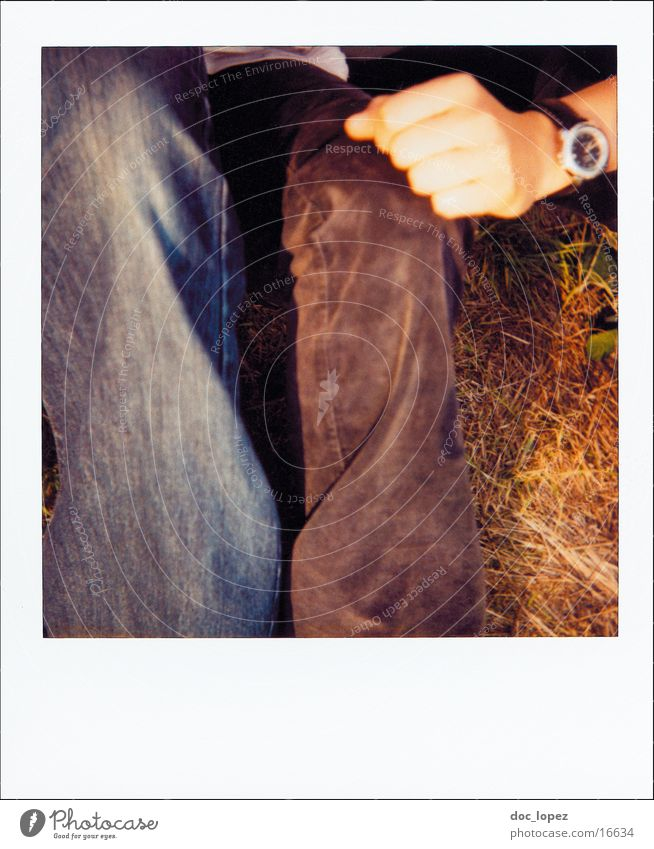 polaroid_poetry_1 Analog Comprehend Pants Hand Clock Lifestyle Friendship Meadow Grass Summer Photographic technology Polaroid Detail Wrinkles Nature