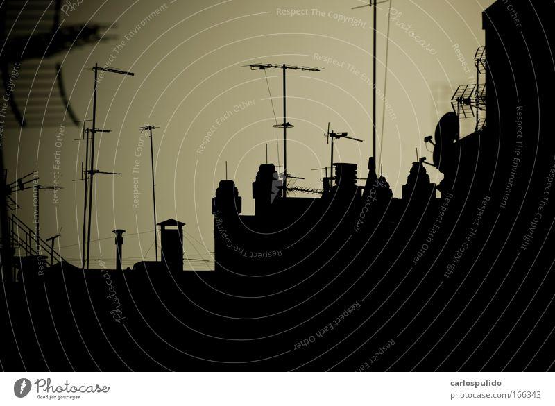 Sky Dark Horizon Roof Many TV set Chimney Feeler Fireside Antenna