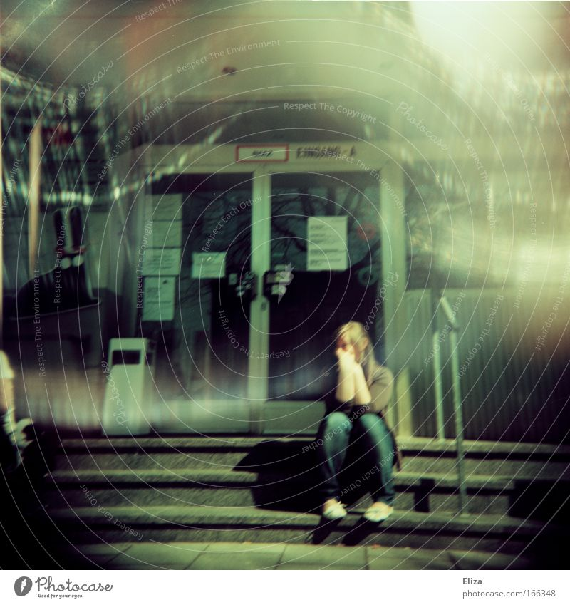 Human being Youth (Young adults) Feminine Building Wait Adults Door Sit Academic studies Stairs University & College student Analog Manmade structures Holga Young woman Shaft of light