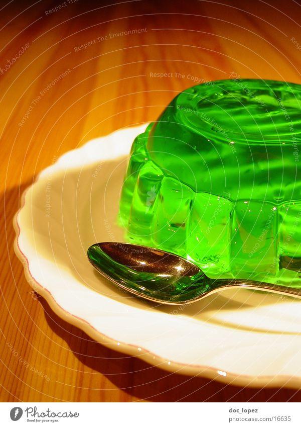 sologruen_2 Pudding Jelly Still Life Jello Green Bilious green Spoon Plate UFO Wobble Nutrition Table Dessert Woodruff It's served. invasion Perspective glibber