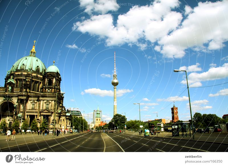Sun City Summer Clouds Berlin Religion and faith Church Tourism Historic Downtown Dome Berlin TV Tower Capital city Television tower Sightseeing Alexanderplatz