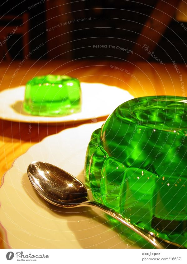 green_3 Pudding Jelly Still Life Jello Green Bilious green Spoon Plate UFO Wobble Nutrition Table Dessert Woodruff It's served. invasion Perspective glibber