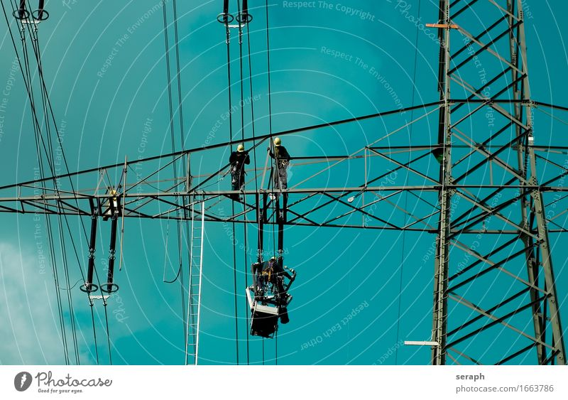 High Voltage Human being Work and employment Energy industry Technology Dangerous Electricity Industry Climbing Construction Electricity pylon