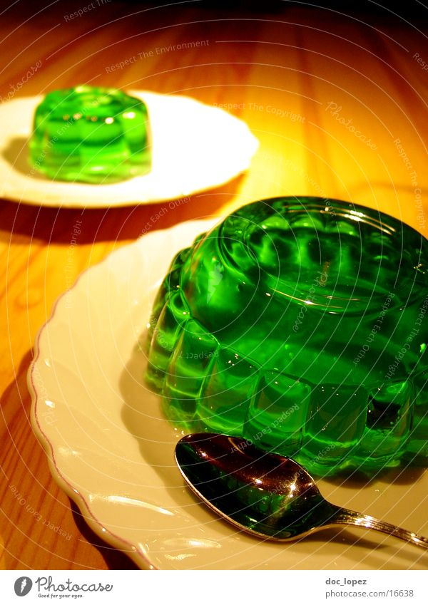 green_2 Pudding Jelly Still Life Jello Green Bilious green Spoon Plate UFO Wobble Nutrition Table Dessert Woodruff It's served. invasion Perspective glibber