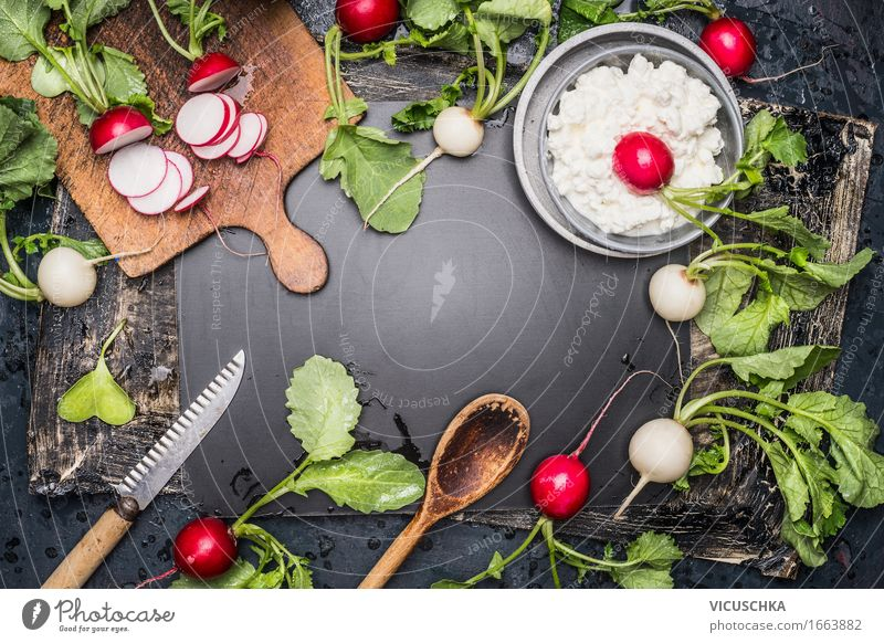 Fresh radishes, kitchen utensils and cream cheese Food Vegetable Lettuce Salad Herbs and spices Nutrition Lunch Organic produce Vegetarian diet Diet Crockery