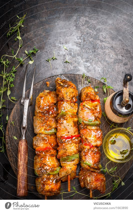 Grill time with marinated meat skewers Food Meat Herbs and spices Cooking oil Nutrition Lunch Dinner Banquet Picnic Organic produce Style Design Summer Table