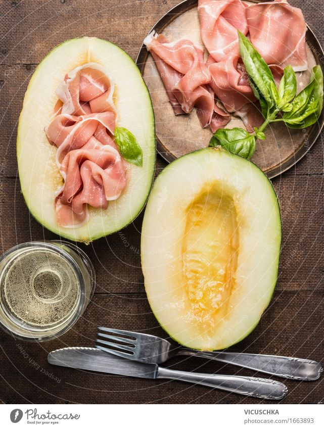 Ham and melon with white wine and cutlery Food Meat Sausage Fruit Nutrition Lunch Buffet Brunch Banquet Business lunch Italian Food Beverage Wine Plate Glass