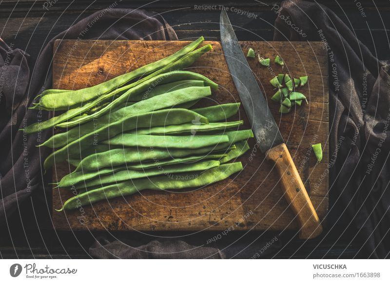 Green beans on cutting board with kitchen knife Food Vegetable Nutrition Lunch Organic produce Vegetarian diet Diet Knives Lifestyle Style Healthy Eating Summer