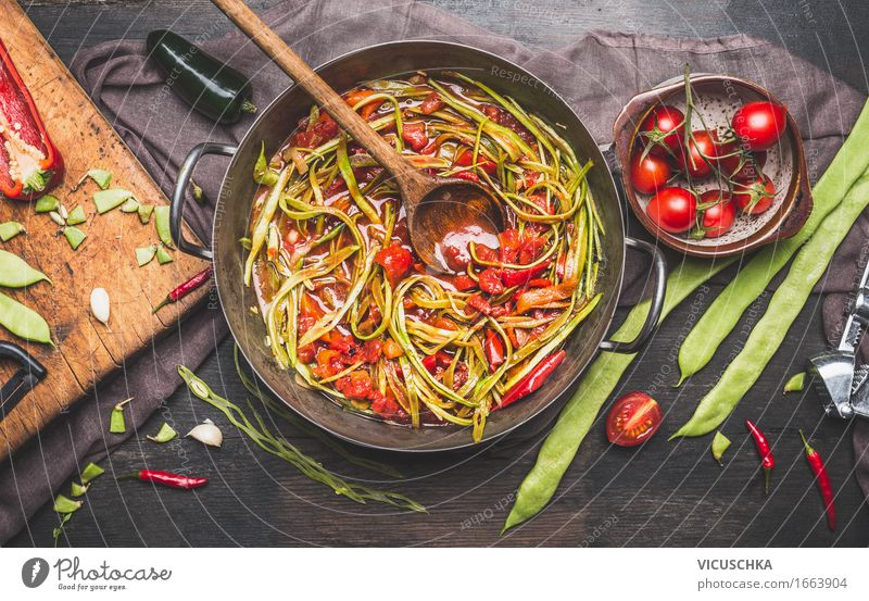 Green French Beans Meal with Cooking Spoon Food Vegetable Herbs and spices Cooking oil Nutrition Lunch Buffet Brunch Banquet Organic produce Vegetarian diet