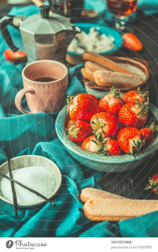 Kitchen table with strawberries Tiramisu ingredients Food Fruit Dessert Candy Nutrition Italian Food Crockery Plate Bowl Cup Style Summer Living or residing