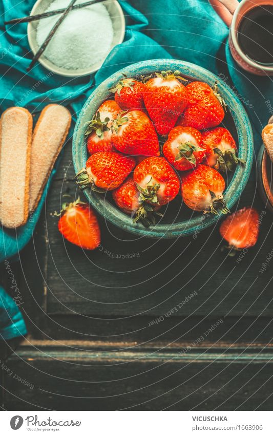 Strawberries in blue bowl Fruit Dessert Nutrition Buffet Brunch Organic produce Crockery Style Design Healthy Healthy Eating Life Summer Living or residing