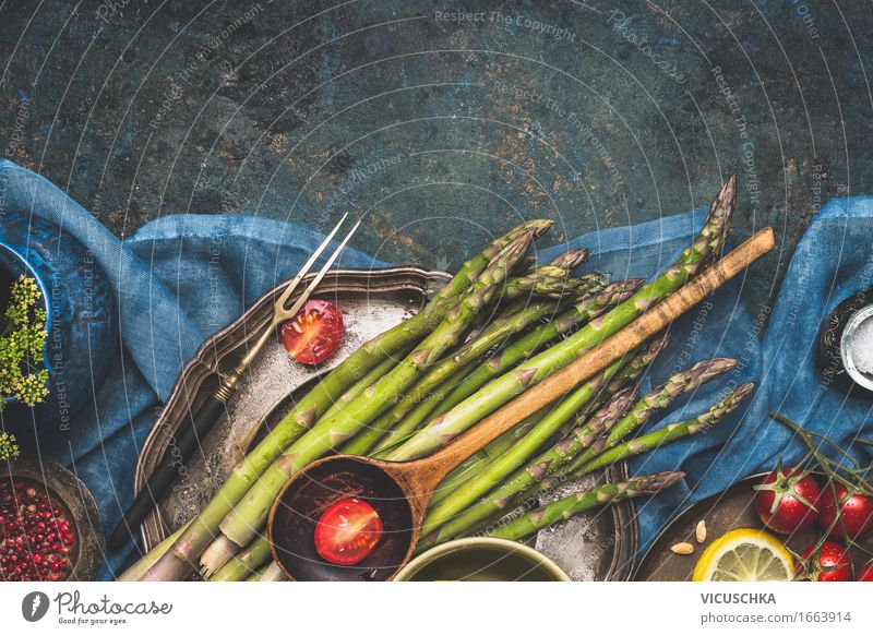 Asparagus on the kitchen table Food Vegetable Lettuce Salad Nutrition Organic produce Vegetarian diet Diet Crockery Plate Fork Style Design Healthy