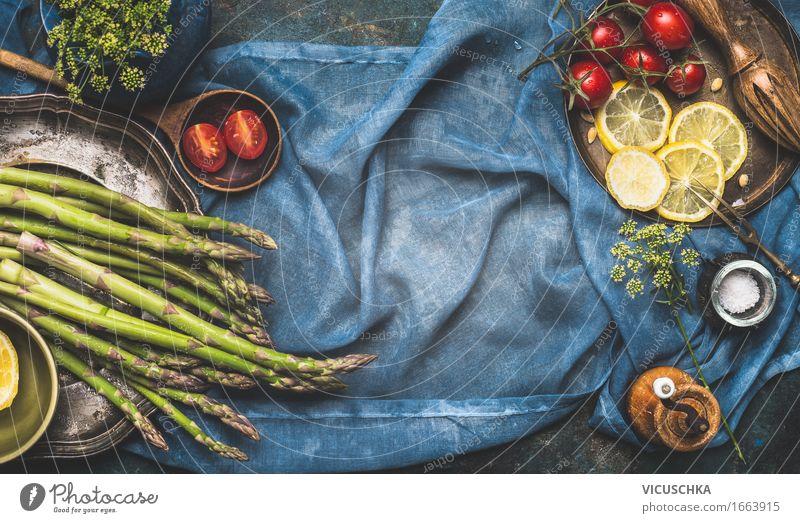 Green asparagus on the kitchen table Food Vegetable Herbs and spices Nutrition Lunch Dinner Organic produce Vegetarian diet Diet Crockery Style Design Healthy
