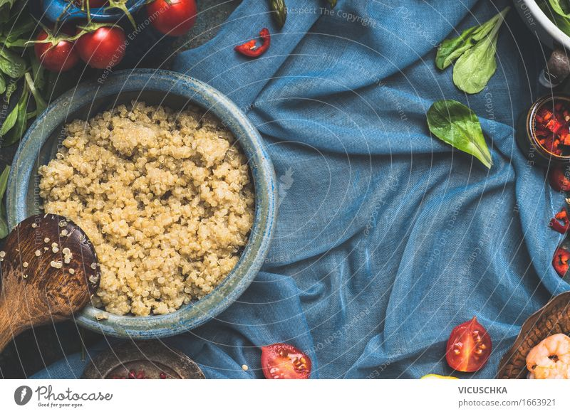 Background for Quinoa recipes Food Vegetable Lettuce Salad Grain Herbs and spices Nutrition Lunch Dinner Organic produce Vegetarian diet Diet Plate Bowl Spoon
