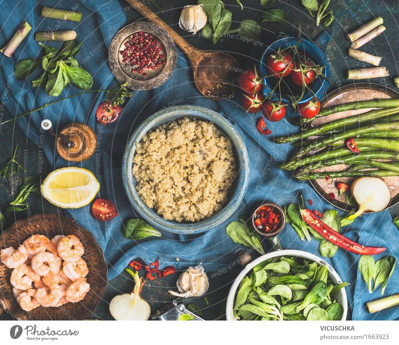 Quinoa with vegetable ingredients Food Vegetable Grain Herbs and spices Cooking oil Nutrition Lunch Dinner Organic produce Vegetarian diet Diet Plate Bowl Pot