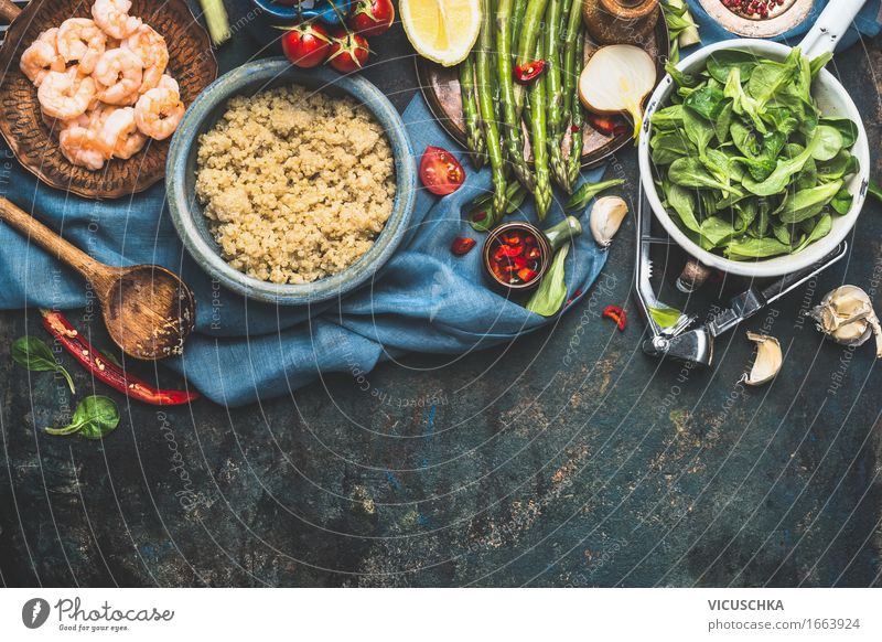 Quinoa with fresh vegetable ingredients Food Vegetable Grain Herbs and spices Nutrition Lunch Dinner Organic produce Vegetarian diet Diet Bowl Pot Spoon Style