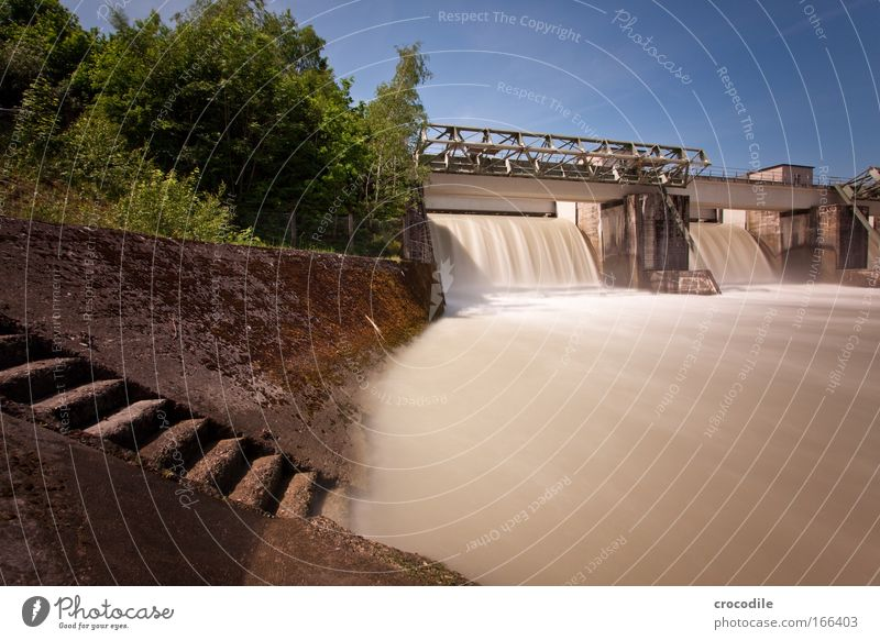 Hydropower III Colour photo Exterior shot Deserted Copy Space right Copy Space bottom Day Motion blur Deep depth of field Central perspective Wide angle