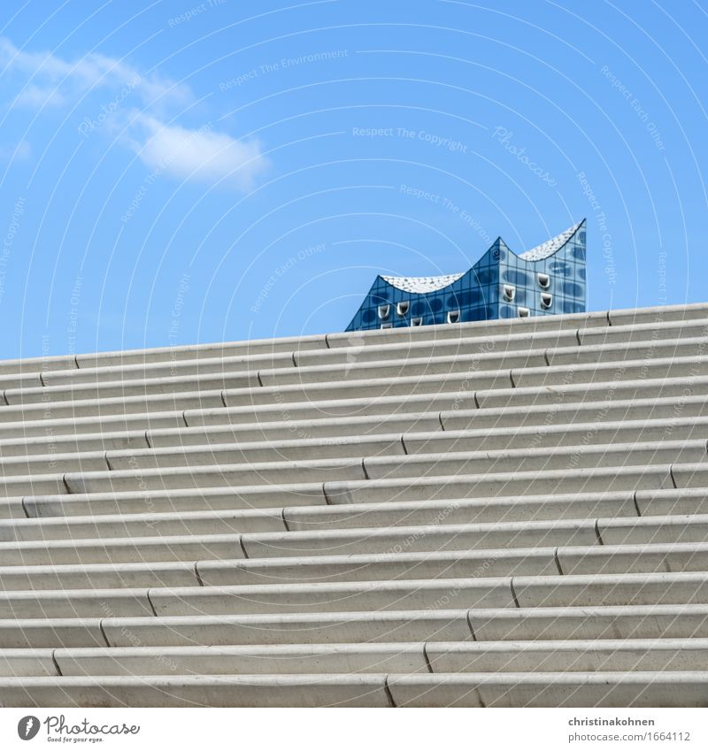 Set sail. Concert Hall Sky Beautiful weather Port of Hamburg Downtown Architecture Stairs Tourist Attraction Landmark Elbe Philharmonic Hall Harbour Esthetic